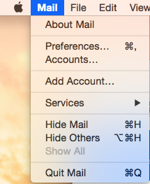 Select Add Account the Mail Menu