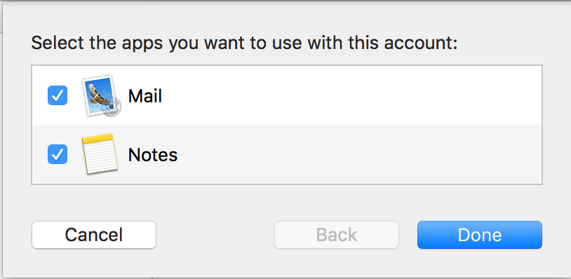 Select the apps the mail account uses
